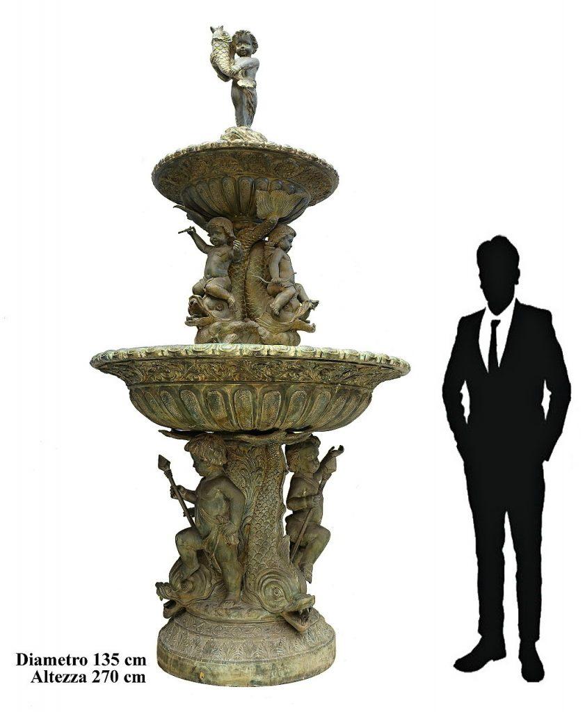 GRANDE FONTANA IN FUSIONE DI BRONZO, TRITONI, PUTTI, CUPIDO – FONDERIE NAPOLETANE PRIMI 900