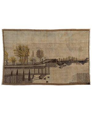 Raro tappeto SAMARKANDA con paesaggio - n.1270