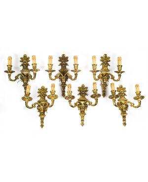 Sei appliques vintage (anni 40-50) in ottone scolpito e dorato