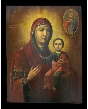 Scuola Russa (XVIII-XIX) - Impressionante Icona di Nostra Signora di Smolensko