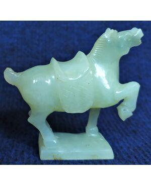 Scultura di cavallo in avventurina - Cina XX sec.