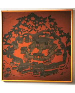 """Seta Cina (con cornice). """"Tempio fortificato circondato da pagode"""" Cornice moderna XX secolo 125 x 125 cm"""