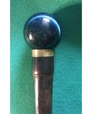 Bastone da sera con pomolo in pietra occhio di falco,canna in bambu'.