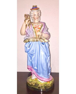 Tisaniera veilleuse figurata in porcellana policroma a forma di dama con cane.Modello Jacob Petit.Francia.Cm 38.