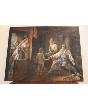 Pastello su carta, scena da interno, Francia, XIX secolo