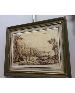 Il molo di Castellammare, disegno a china