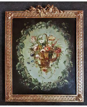 """Dipinto """"Ghirlanda con al centro cesto di fiori""""."""