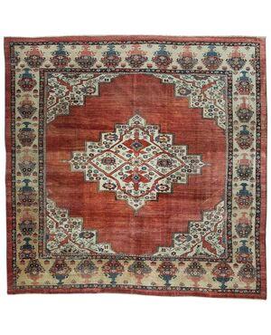 Raro tappeto antico quadrato Bakhshayesh da collezione privata - n.630