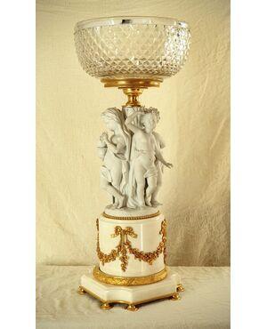 Quattro stagioni -Centrotavola in biscuit, cristallo, bronzo e marmo, Luigi XVI
