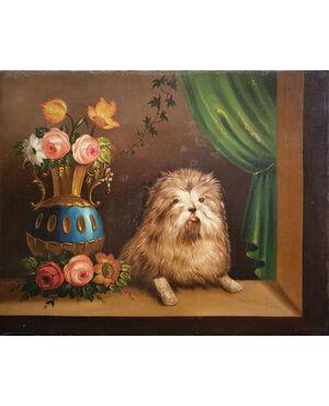 """""""Vaso di fiori con cane"""""""