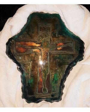 Placca in vetro con Cristo. Misure cm 42x36