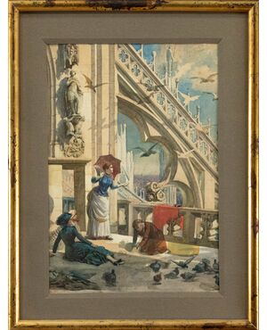XIX secolo, Veduta dalle guglie del Duomo di Milano, Acquarello