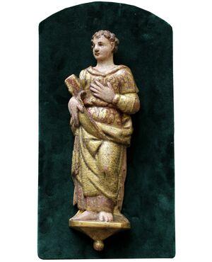 Figura in altorilievo di filosofo o profeta, Legno policromo, XVII secolo