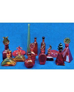 Rara collezione 14 pz in spesso vetro colorato - Italia anni '50