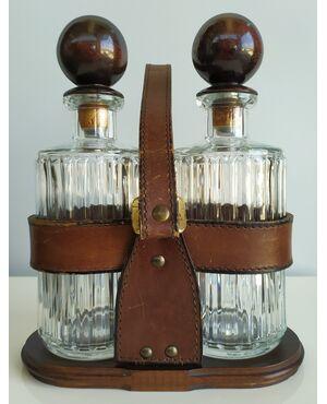 Set 2 bottiglie da liquore con custodia in pelle - Italia anni '50 '60