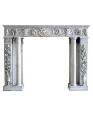 Importante camino in marmo bianco di Carrara, camini antichi