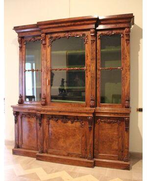 Libreria antica a tre ante con vetrina, libreria in legno antica