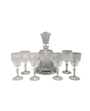 1950 Stunning Crystal Decanter with 6 Crystal Glasses. Made in Italy