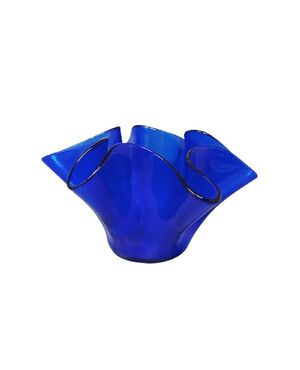 """1970s Blue Vase """"Fazzoletto"""" by Dogi in Murano Glass. Made in Italy"""