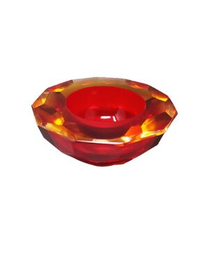 """1970s Stunning Red Bowl """"Geode"""" by Alessandro Mandruzzato in Murano Glass. Made In Italy"""