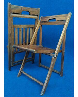 Coppia di rare seggiole pieghevoli in legno da campeggio - anni '40