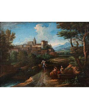 Bottega di Jan Frans van Bloemen (1622 – 1749), Paesaggio laziale, Olio su tela