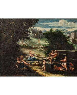 Paesaggio agreste con scena galante, XVII secolo