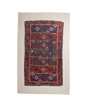 Frammento di antico tappeto KURDESTAN applicato su tela - n. 713 -