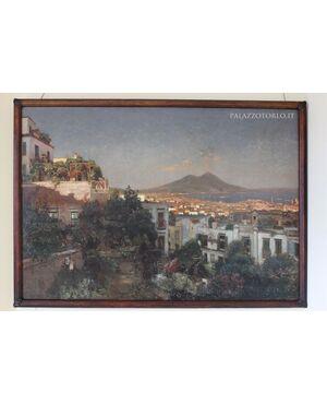 Dipinto raffigurante Veduta di Napoli, olio su tela