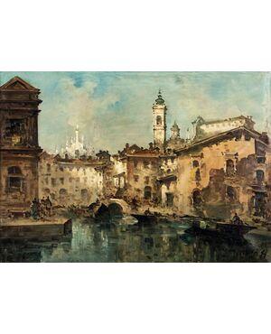 Veduta di Milano, Giuseppe Riva (1834-1916)