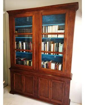 Splendida libreria ottocentesca in legno dolce. (263  x 198 x 38)