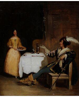 Scena di taverna, dipinto del XIX secolo