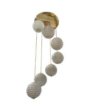 Very Chic brass and glass chandelier