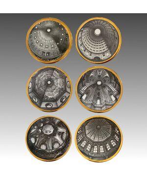 FORNASETTI PIERO, sei piatti in porcellana della serie Cupole d'Italia