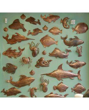 pesci in rame anni 60 decorativi