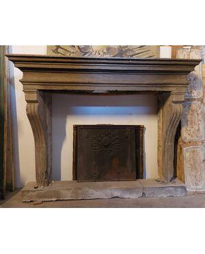 chp339 - camino monumentale in pietra, epoca '600, mis. max cm l 250 x h 201