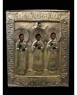 Interessante icona con rappresentazione dei santi Apollinare, Sidonio e Avito - XIX°