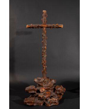 Giovanni Paolo Schor (Innsbruck, 1625 - Roma,1674), Croce lignea giansenista in legno di noce intagliato e laccato