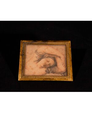 Italia, XVIII Secolo, Donna dormiente, disegno a matita