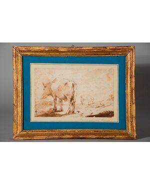 Attribuito a Giovanni Francesco Barbieri detto il Guercino, Pastore con le sue mucche, disegno a sanguigna