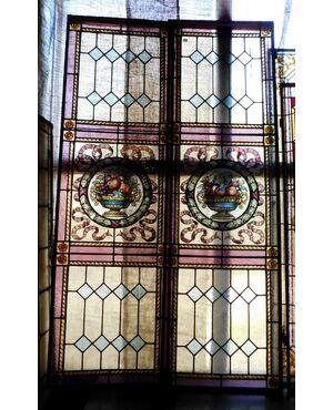 pan043 n. 2 antine a vetri colorati mis. cm 103 x 170 total