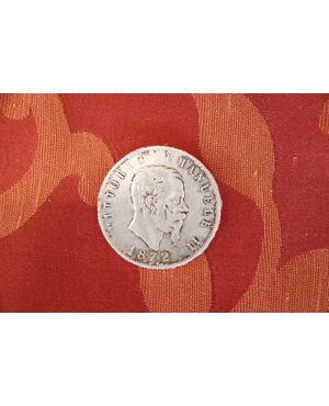 Moneta da collezione in argento Regno d'Italia 5 lire Vittorio Emanuele II 1872 euro 35,00