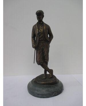 Statua bronzo golfista epoca seconda metà '900