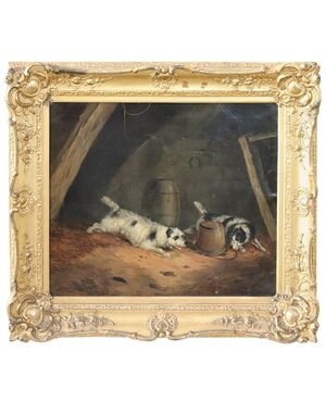 Dipinto antico olio su tela George Armfield Smith Sec. XIX PREZZO TRATTABILE