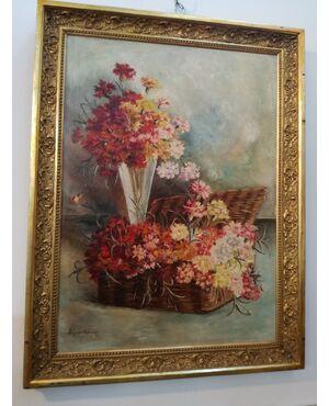 Quadro con fiori firmato
