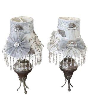 Coppia di lampade da tavolo abat jou in metallo anni 1930 PREZZO TRATTABILE
