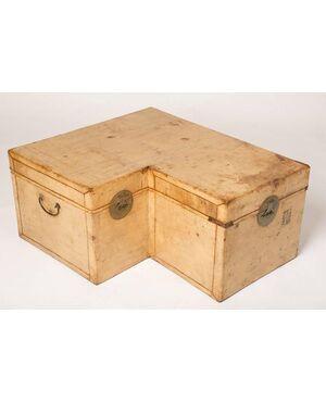 Baule Cinese in pelle: idea per un tavolino angolare - M/1764