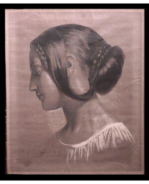 """Disegno a Carboncino: """"Ritratto di dama"""" firmato Mucchi Guglielmo"""