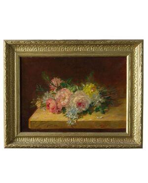 """""""Rose sul tavolo"""" olio su tela francese Ottocento - O/6796"""