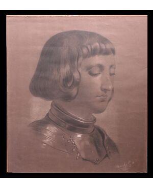 """Disegno a Carboncino: """"Ritratto Uomo"""" Firmato G. Mucchi"""